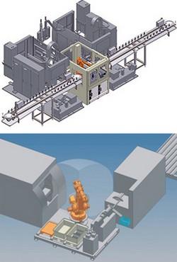 Maschinen-Beschickung und -Verkettung mit Roboter, Maschinen-Beladung