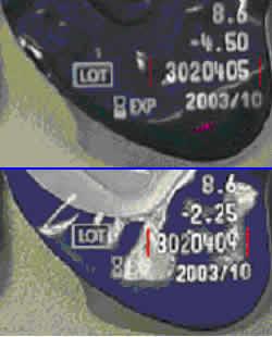 Verifiizierung Lotnummer auf Kontaktlinsenverpackung
